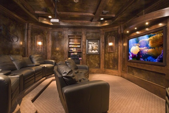 Man Cave with Wood Panelled Home Cinema