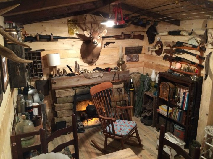 Man Cave in Style of a Hunting Lodge