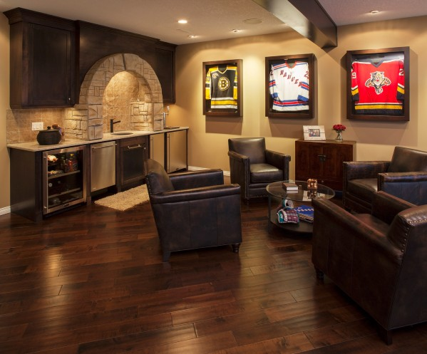 Man Cave with Comfortable Armchairs and Kitchen Nook