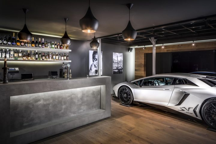 Man Cave with Bar and Lamborghini