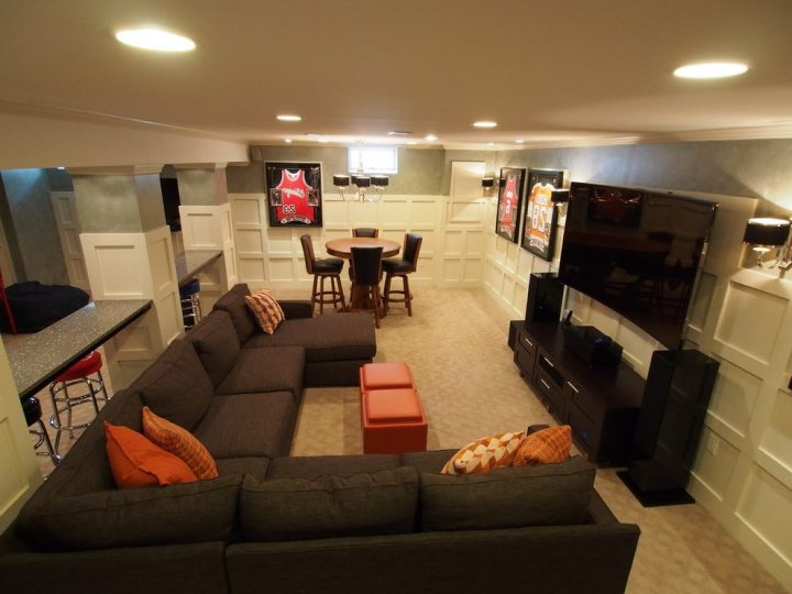 Man Cave with Large TV