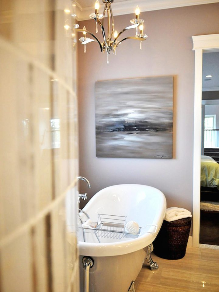 Bathroom off Master Bedroom With Tub and Chandelier