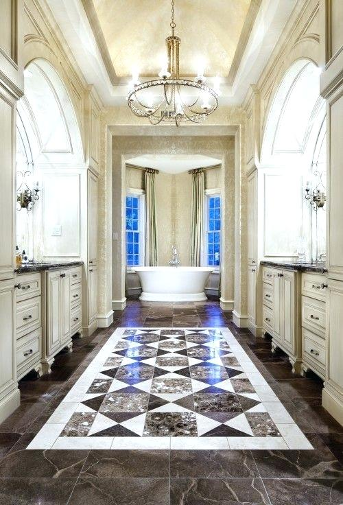 Master Bathroom with Opulent Floor Tiles, Free Standing Tub and Tray Chandelier