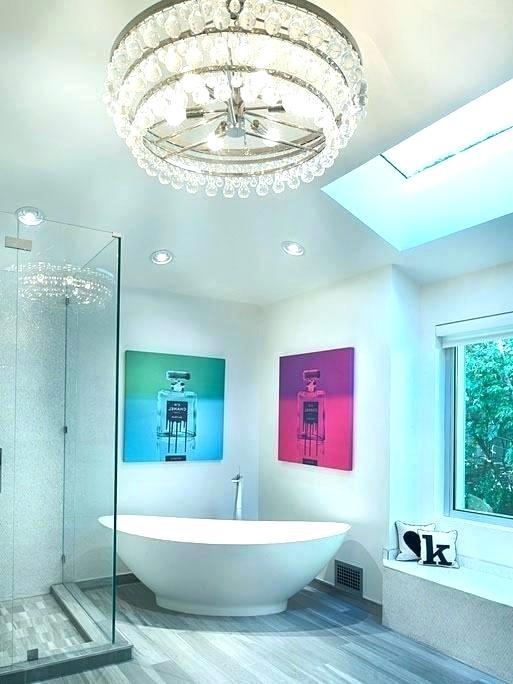 Modern Master Bathroom With Oldfashioned Drum Chandelier