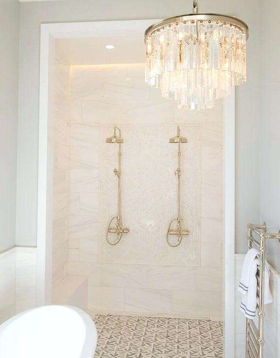 Modern Walk-In Shower In Master Bathroom With Glass Drum Chandelier