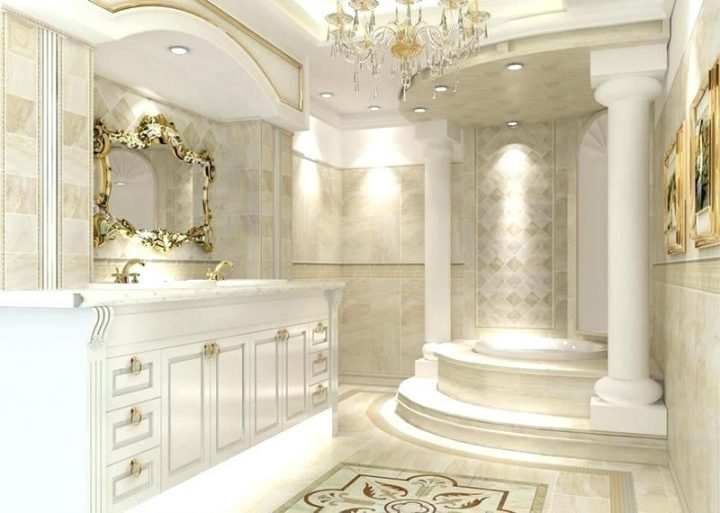 Roman-Style Master Bathroom with Traditional Gold and Crystal Chandelier