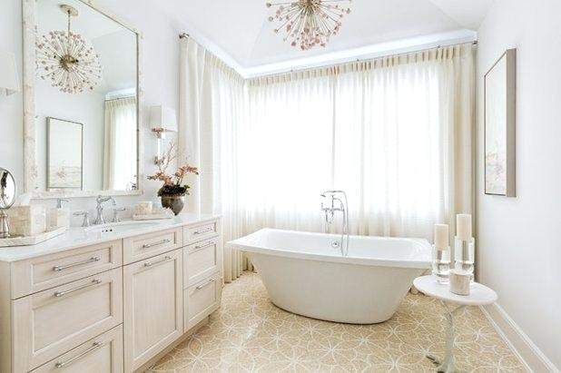 Traditional Beige-White Masterbathroom with Modern Chandelier