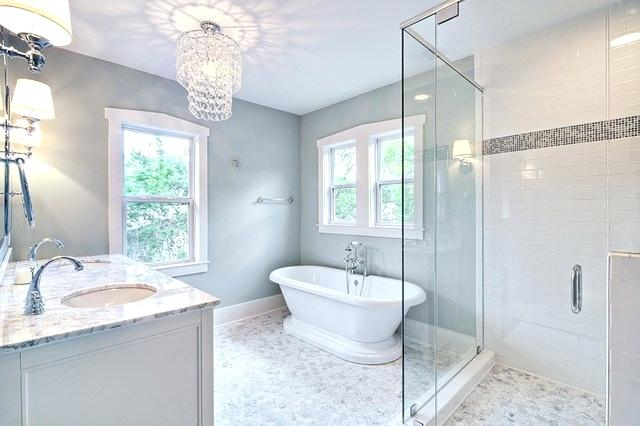 Traditional Spa-Inspired Master Bathroom with Glass Chandelier
