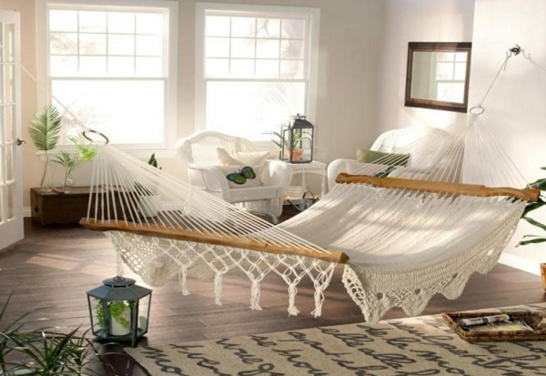 White Lacy Hammock as Mattress Alternative