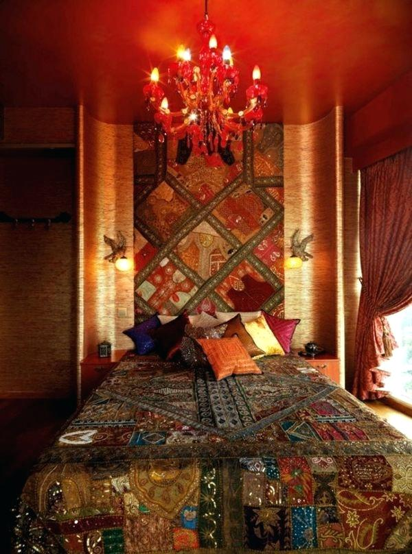Moroccan Bedroom Decor: Multitude of Colours Mixed in a Red Room