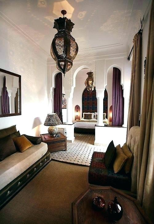 Moroccan Bedroom Decor: Big Ornate Lantern Light Fixtures