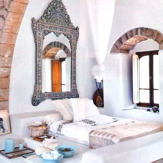 Moroccan Bedroom Decor: Mirror With Ornately Carved Wooden Frame