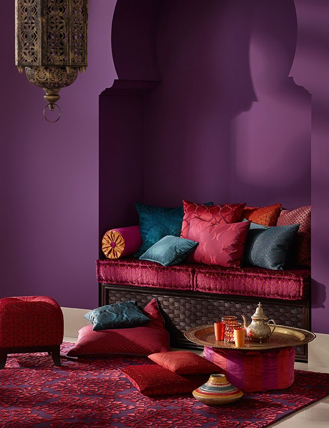 Moroccan Bedroom Decor: Sitting Niche Set into One Wall Done Up With Colourful Cushions