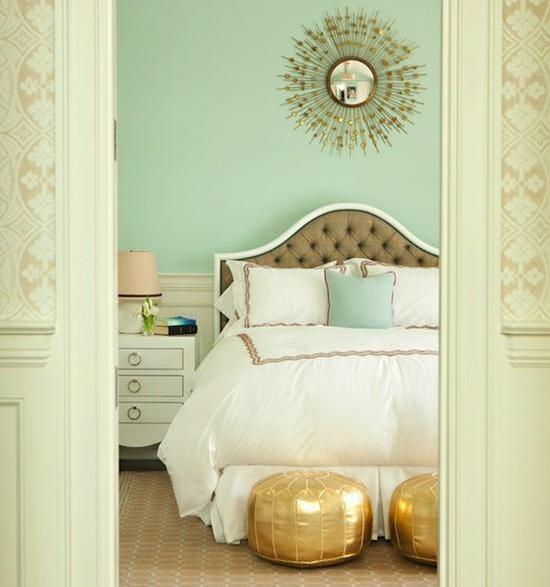 Moroccan Bedroom Decor: Golden Poufs