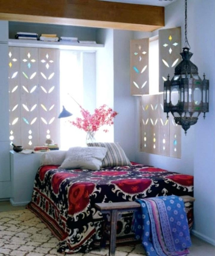 Moroccan Bedroom Decor: Carved Folding Wood Shutters