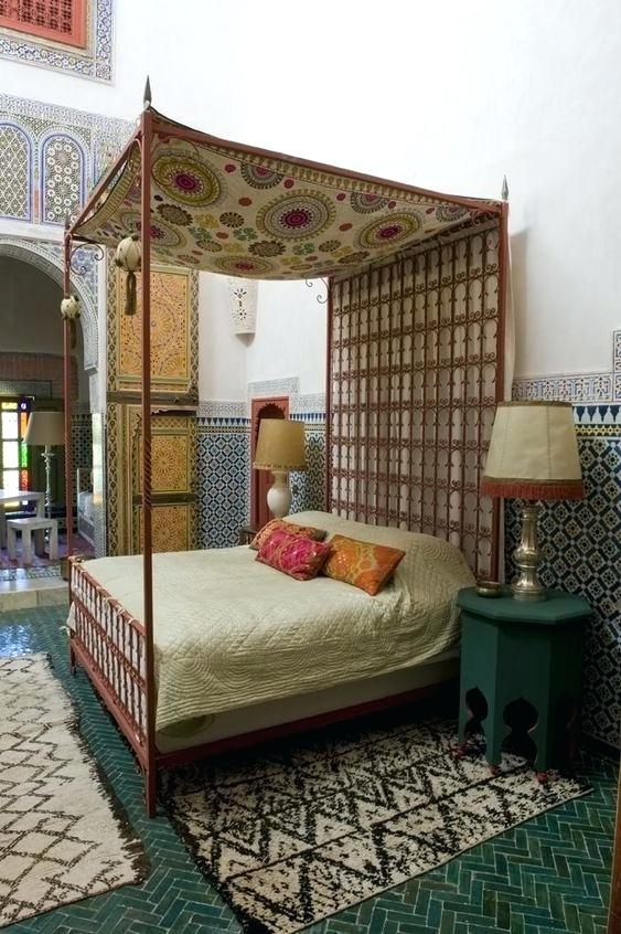 Moroccan Bedroom Decor: Differently Coloured and Patterned Tiles Wrapping Around the Room