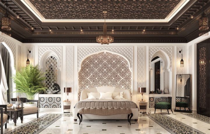 Moroccan Bedroom Decor: Monochrome Tiles
