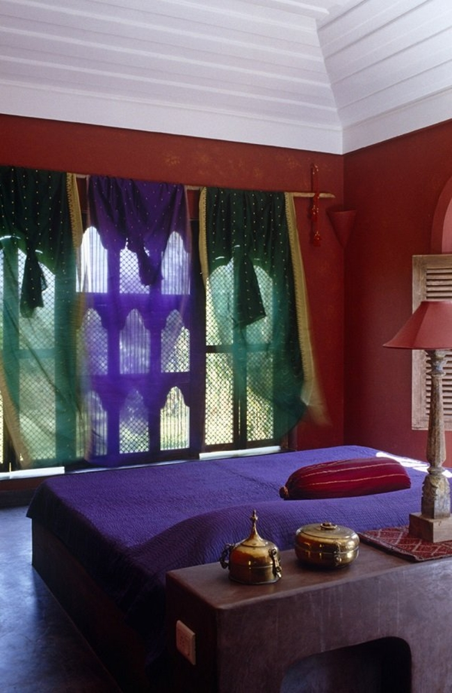 Moroccan Bedroom Design: Beautifully Framed Window with Colourful Sheer Curtains