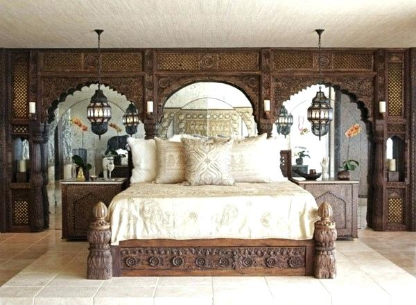 Moroccan Bedroom Decor: Heavy Wooden Bed, Nightstands and Beautiful Wall Panels