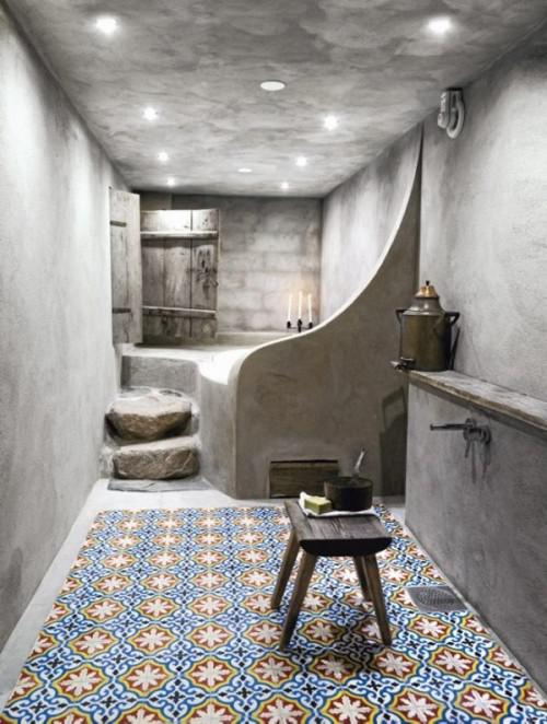 Moroccan Themed Bathroom With Colourful Tiled Floor