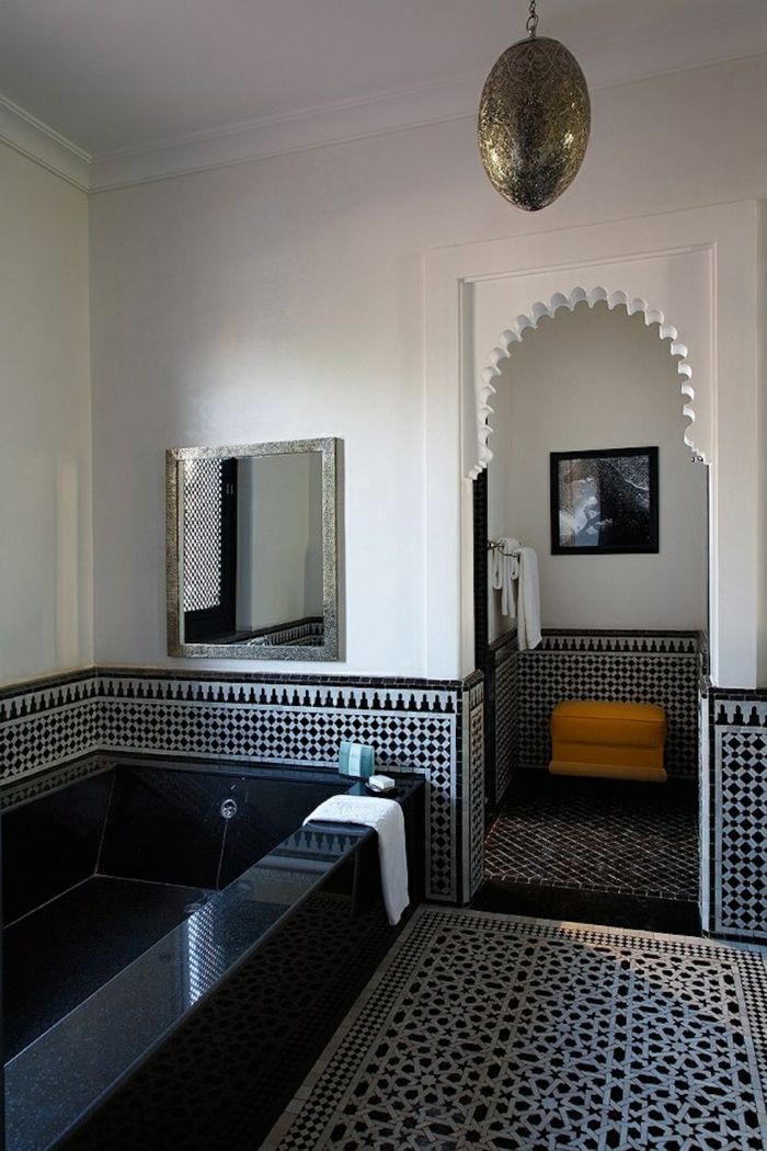Moroccan Themed Bathroom With Black and White Tile Patterns