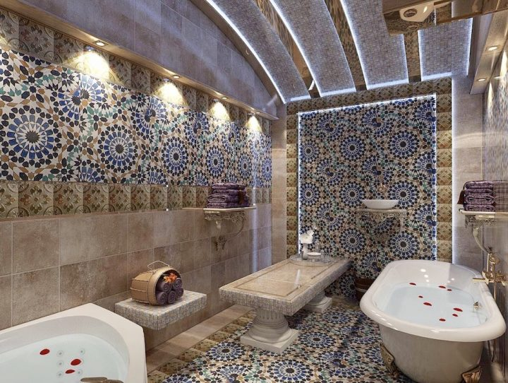 Moroccan Themed Bathroom With Traditionally Tiled Floor, Walls, and Ceiling