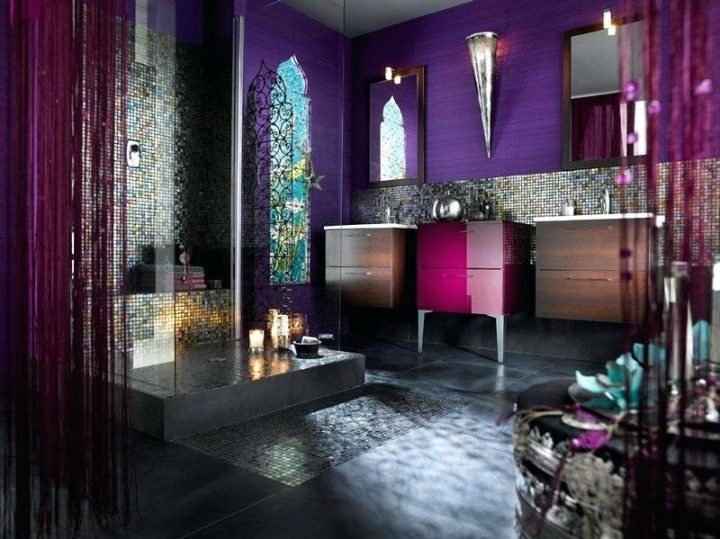Moroccan Themed Bathroom With Purple Walls and Colourful Tiles