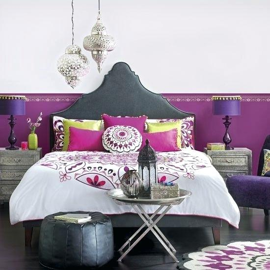 Moroccan Themed Bedroom with Oriental Headboard and Matching, Pink-Based Colour Scheme