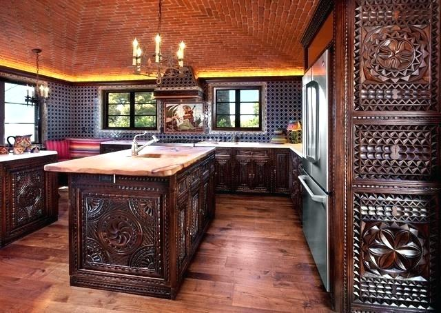 Moroccan Themed Kitchen with Heavy, Dark Wooden Furniture