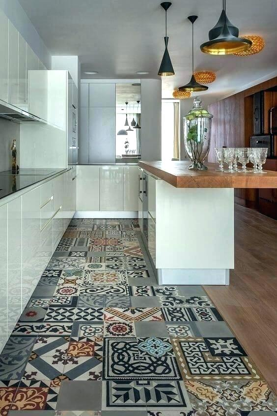 Moroccan Themed Kitchen With Patterned Tiles on Floor