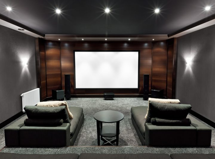 Small Movie Room with Chaise Lounges