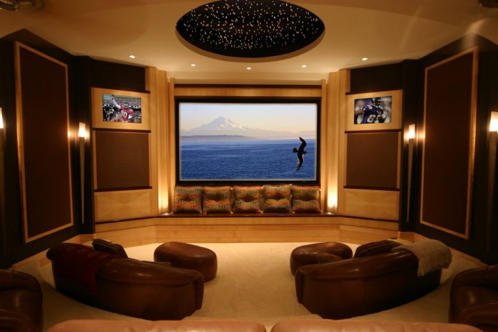 Movie Room with Leather Seating and Starry Skylight