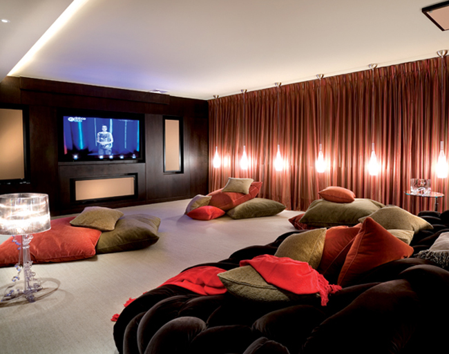 Movie Room with Mounds of Pillows instead of Seating