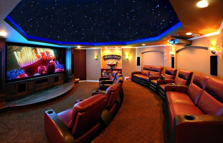 "Movie Room with Large ""Night Sky""-Ceiling Lighting"