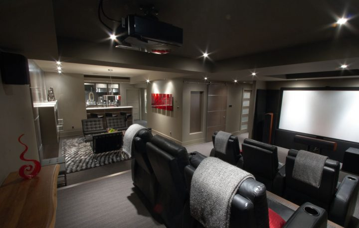 Basement Movie Room with Attached Bar