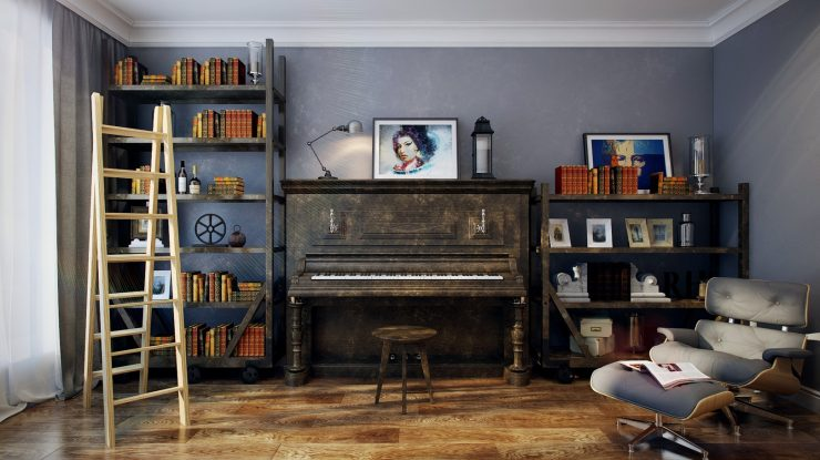 Beautifully Aged Upright Piano Framed by Shelves Made of the Same Wood