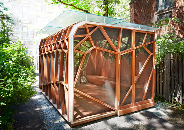 Dragonfly Wings Inspired Wooden Pavilion