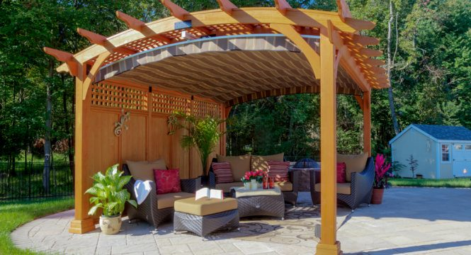 Wooden Pavilion with Comfortable Seating