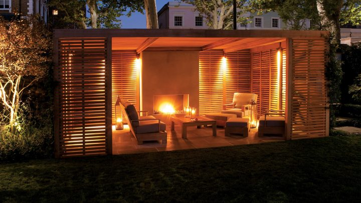 Wooden Slats Pavilion with Fireplace