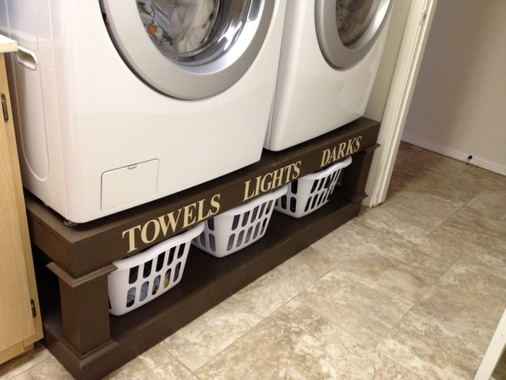 DIY Washer and Dryer Pedestal with Baskets to Sort Laundry Underneath