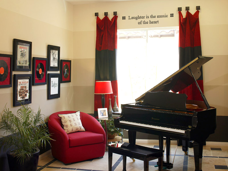 Piano Room with Red Colour Scheme and Quote Above Window