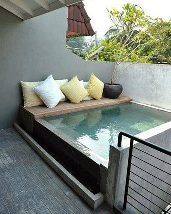 Tiny Plunge Pool With Bench to Dip Feet in Water