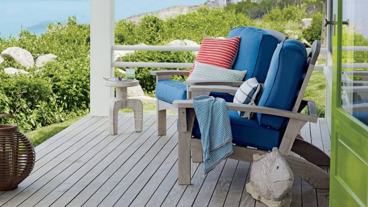 Comfortable Chairs with Thick Cushions on a Coastal Porch