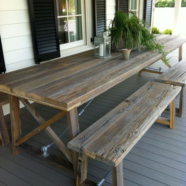 Wooden Picknick Table Used As Porch Table