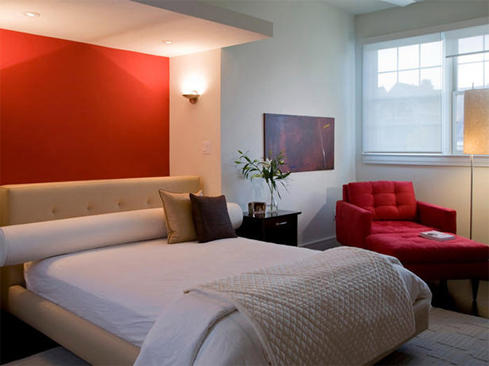 Red Accent Wall With Lighting