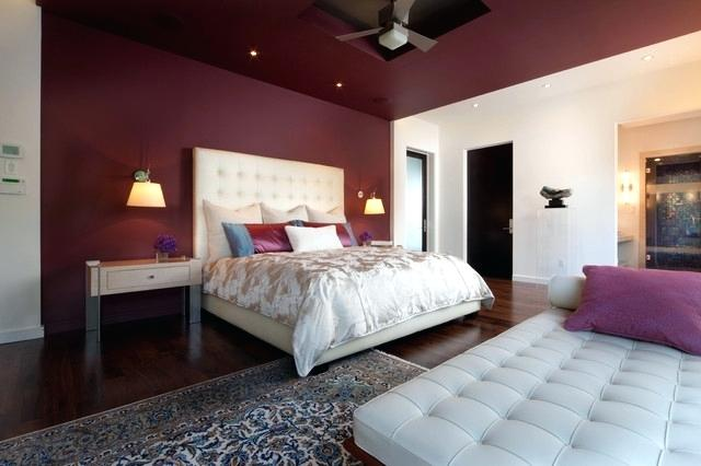 Red Bedroom Wall and Ceiling with Elegant White Furniture