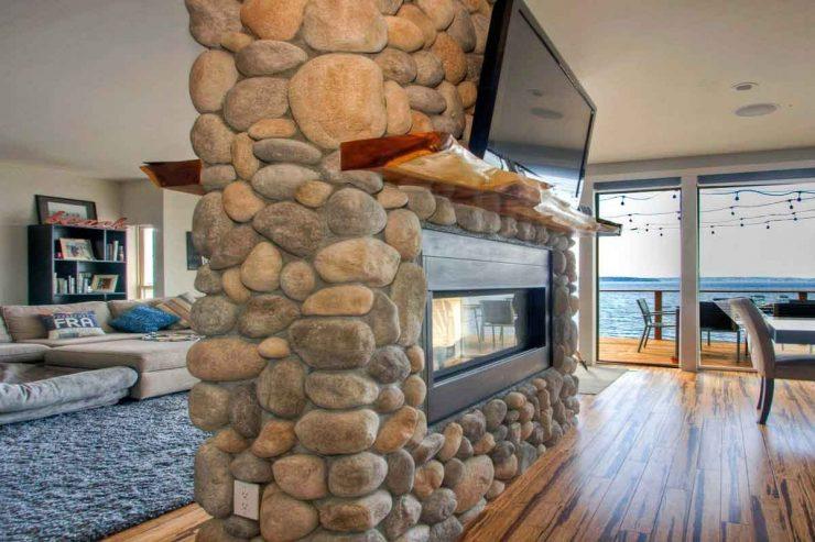 Room Divider River Rock Fireplace