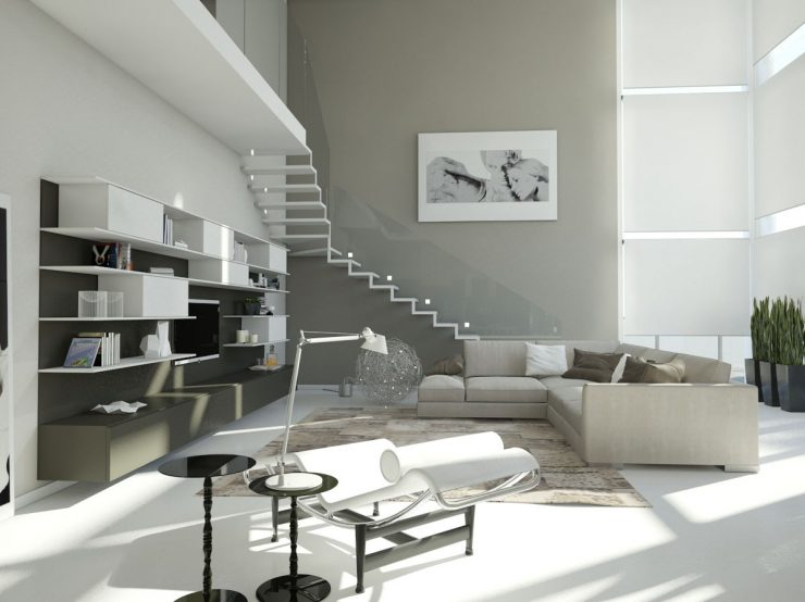 Grey Stairs Blend In with Grey Walls and Living-Room Design