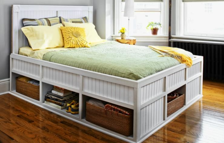 Bed with Drawers White