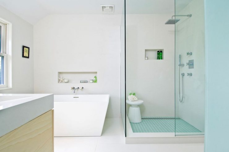 Glass Tiled Shower Floor
